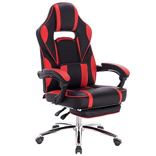 WOLTU Gaming Stuhl Racing Stuhl Bürostuhl Chefsessel Schreibtischstuhl Sportsitz mit Lendenkissen, mit Fußstütze, Kunstleder, höhenverstellbar, Rot, BS25rt