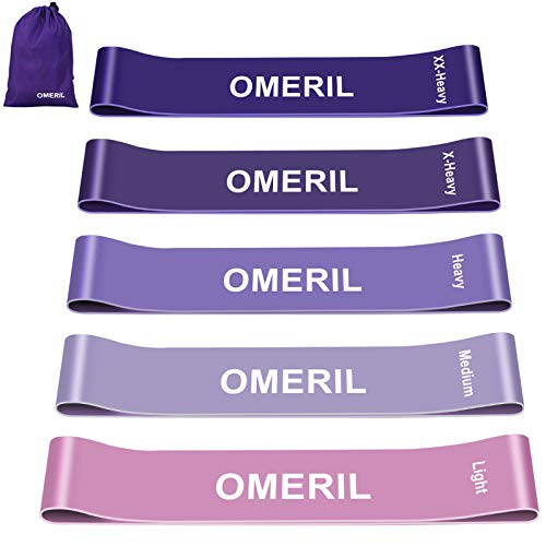 OMERIL Resistance Bands [Set of 5], Skin-Friendly Exercise Loop Bands with 5 Resistance Levels Workout Bands for Legs and Glutes, Arms, Physio, Pilates, Yoga, Strength-Carry Bag Included