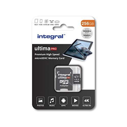 Integral 256 GB Micro-SD-Karte 4K Video Premium High Speed Speicherkarte SDXC bis zu 100 MB s Lesegeschwindigkeit und 50 MB s Schreibgeschwindigkeit V30 C10 U3 UHS-I A1
