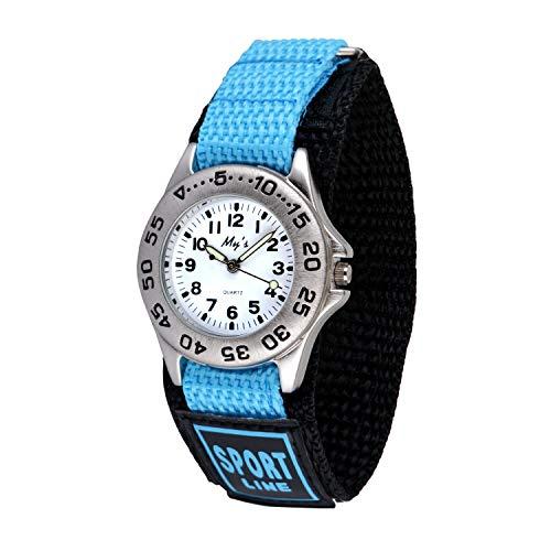 Neihou Kinder und Jugendliche Uhr Analog Quarz mit Nylon Fast Wrap Armband Blau WB06903 MEHRWEG