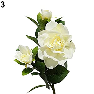 Kyuccfrs Artificial Flower, 1Pc 3 Heads Fashion Simulation Gardenia Flower for Wedding Party Bouquet Christmas Ornament DIY Handmade Home Craft Decor