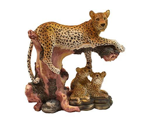 Leopard mit Baby Kind Panther Katze Skulptur Deko Afrika Figur Löwe Tiger Gepard Wildkatze