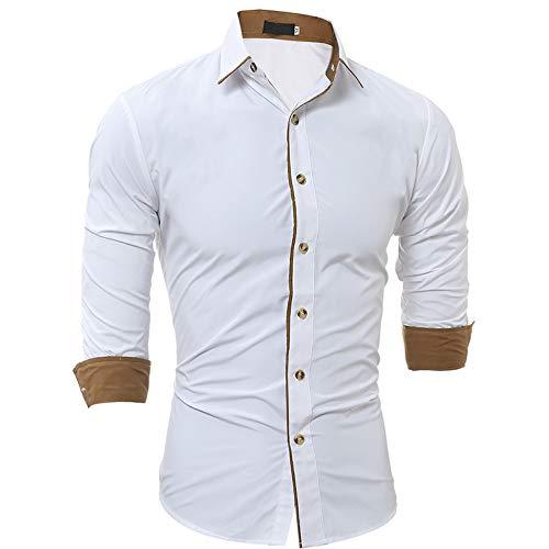 Camisa de Manga Larga con Solapa con Muesca para Hombre Costura de Color a Juego Camisa con Botones básica clásica de Corte Ajustado para Todos los Partidos 3XL