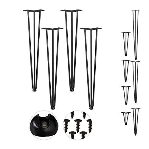 Relaxdays Hairpin Legs, 4er Set, 3 Streben, Metall, Haarnadel Tischbein für Hocker, Tisch & Schrank, 60 cm hoch, schwarz