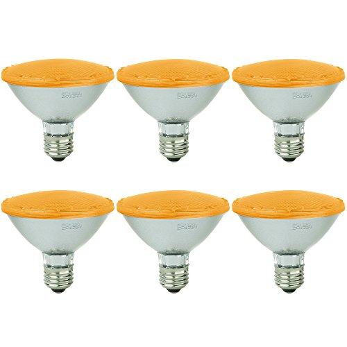 Sunlite - Amber LED PAR30 Reflector Light Bulb, 3 Watt, 120-220 Volts, Medium Base, 30,000 Hour Life, 30° Narrow Flood Beam Angle, Energy Saving, Eco Friendly, Turtle Safe, Indoor/Outdoor (6 Pack)