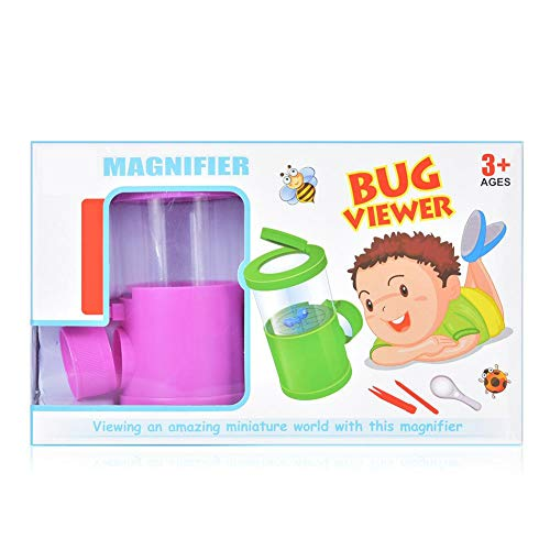 T best Bug Viewer, Eco-Friendly ABS Kids Magnifier Bottle Set Bug Catcher and Viewer Microscope Handheld Insect Observation Magnifying Science Optical Explore Education Toy(Pink)