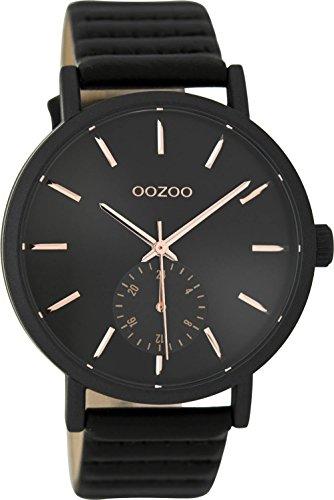 Oozoo Damenuhr mit Lederband 42 MM Schwarz/Schwarz C9189