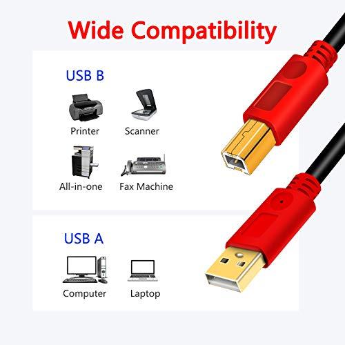 Cable Impresora LSYTASG Cable para Impresora Cable USB 2.0 Tipo A a Tipo B para conectar Impresora,Escáner,Disco Duro,Fotografía Digital y Otros Dispositivos 6M