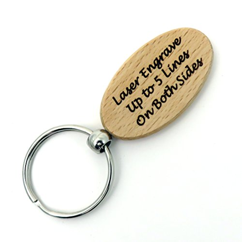 Custom Engraved OVAL Key Chain - Key Ring - Wood - Front & Back Engraved - Personalized (Wood Grain)