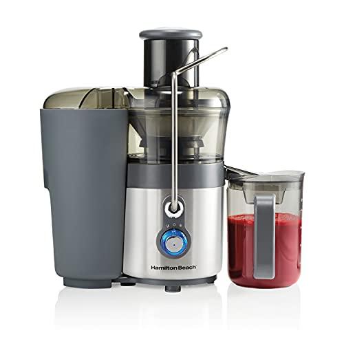 Hamilton Beach Premium Juicer Machine, Big Mouth 3' Feed Chute, Centrifugal, Easy Clean, 2-Speeds, BPA Free 40 oz Pitcher, 850W, Silver (67850)
