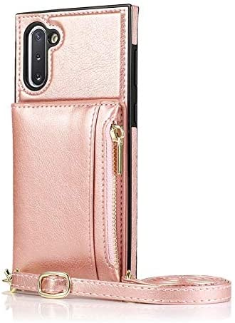 Case for Samsung Galaxy Note 10 Pro, Zipper Wallet Case with Credit Card Holder/Crossbody Long Lanyard, Shockproof Leather TPU Case Cover for Samsung Galaxy Note 10 Pro (Color : Rosegold)