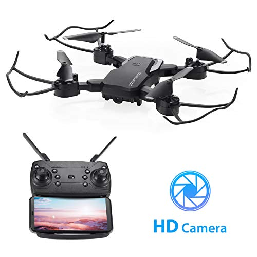Powerextra Foldable WiFi FPV Drone with 1080P HD Camera, Quadcopter with Camera for Kids, Trajectory Flight/Gesture Control/Altitude Hold/G-Sensor/3D Flips/Headless Mode/One Key Return App Control