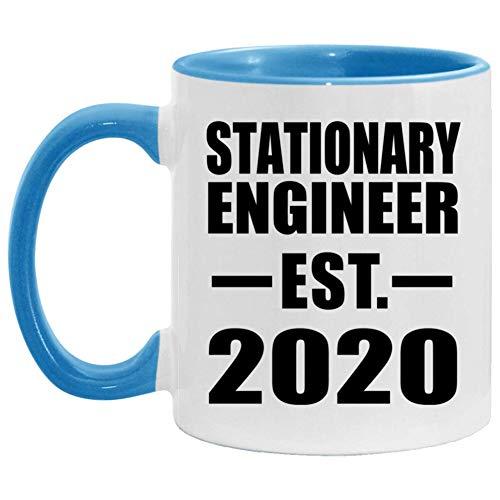 Stationary Engineer Established EST 2020-11oz Accent Coffee Mug Blue Ceramic Tea-Cup - For Friend Retirement Graduation Boss Birthday Anniversary Mothers Fathers Day Z9GWAR