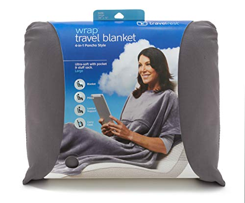 Travelrest 4-in-1 Travel Blanket - Ultra Plush and Soft Poncho Style Blanket – Includes Built-in Carry Case, Stuff Sack and Zippered Pocket – Ideal Airplane Blanket Weighing Just 20 Ounces.