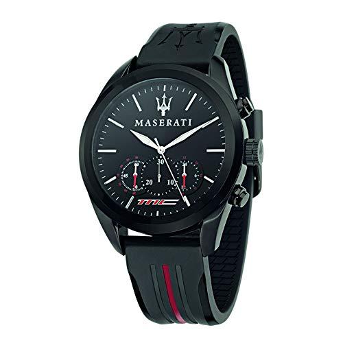 Orologio da uomo, Collezione Traguardo, movimento al quarzo, cronografo, in acciaio, PVD nero, pu - R8871612004