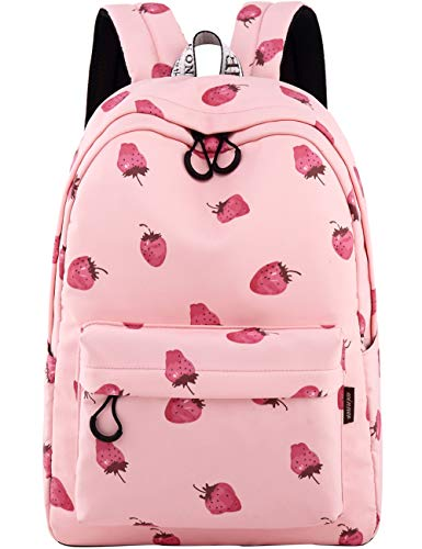 School Bookbags for Girls, Cute strawberry Backpack College Bags Daypack Travel Bag by Mygreen (Pink-Medium)