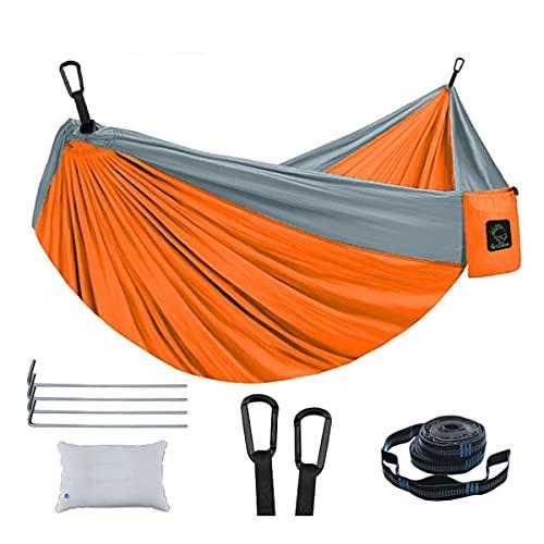 Hamacas Camping Hamaca Colgante Camping Hamaca Portable Portátil Double Double Hamacas Para Caminatas Al Aire Libre Interior Camping Mochilero Viaje Playa De Patio Trasero Co(Size:Doble,Color:naranja)