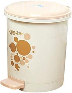 ZXJshyp Trash Can Foot Pedal Trash Home with Lid Bathroom Bedroom Flip Cartoon Cute Pedal Waste Bin (Color : Beige, Size :...