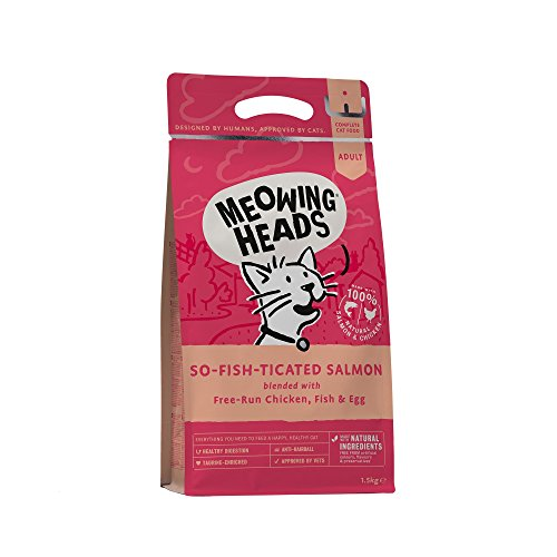 Meowing Heads Dry Cat Food - So-Fish-Ticated Salmon - 100% Natural Salmon and Chicken with No Artificial Flavours, Good for Healthy Digestion, 1.5 kg