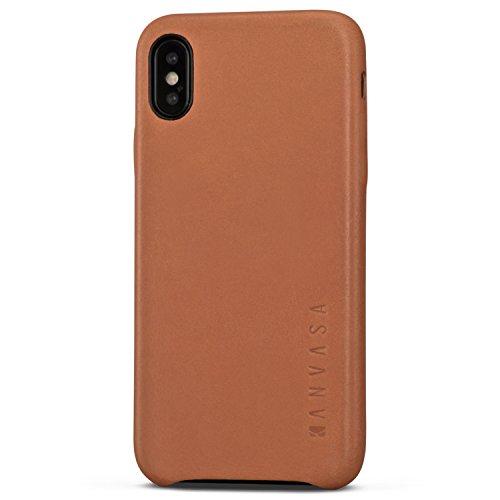 """KANVASA iPhone X Cover in Pelle Marrone Skin Custodia Ultrasottile per Apple iPhone X/iPhone 10 (5.8"""") - Borsetta di Lusso in Vera Pelle - Case di Protezione Ottimale & Cuoio Premium"""