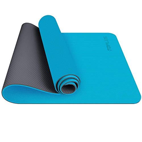 TOPLUS Esterilla Yoga Antideslizante Alfombrilla de Yoga Esterilla Pilates Esterilla Deporte- con Correa de Hombro 183cm x 61cm (Azul Claro+Gris Claro)