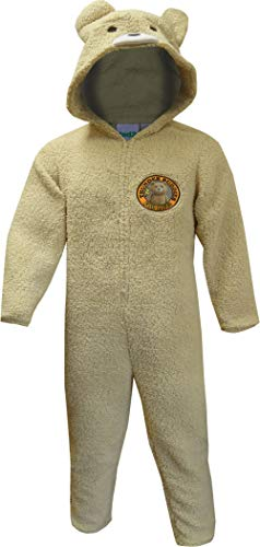 Ted Men's Ted2 Thunder Buddies for Life Plush Onesie Hooded Pajama (X-Large) Brown