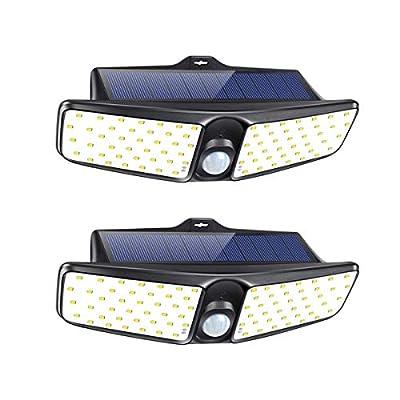 HARMONIC Solar Lights Outdoor,100 LED Flood Light, IP65 Waterproof Solar Motion Sensor Light, Wireless Solar Security Lights with 270° Wide Angle Outdoor Wall Lights for Front Door, Yard, Gar (2 Pack)