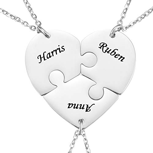 KY Jewelry Personalized Heart Puzzle Necklace Custom Name Necklace Stainless Steel Best Friend Matching Necklace for 2/3/4