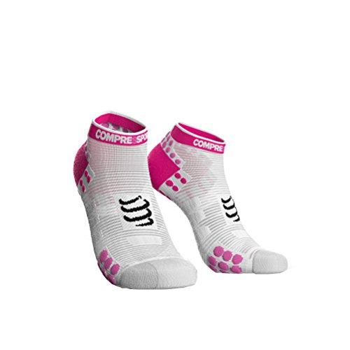 COMPRESSPORT - Calcetines de Carrera V3.0Run Low, Talla 2, Color Rosa y Blanco