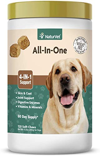 NaturVet All-in-One Dog Supplement - for Joint Support, Digestion, Skin, Coat Care  Dog Vitamins, Minerals, Omega-3, 6, 9  Wheat-Free Supplements for Dogs  120 Soft Chews