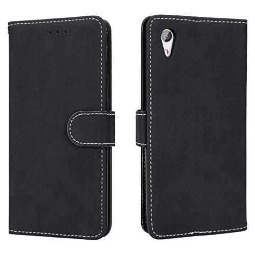 Prologfer Hülle kompatibel mit Sony Xperia XA1 Hülle Schwarz Lederhülle Handytasche Karten Slot Hülle Cover Flip Bookstyle Standfunktion mit Magnet Schutzhülle für Sony XA1 Handyhülle