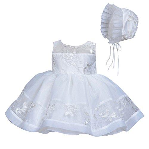 Happy Cherry Babymädchen Kleider Baby Süßes Kleid Kleine Prinzessin Kleid Ärmelloses Falten Kleid mit Große Schleife (Weiß mit Mütze, Gr.3(Körpergröße 56-62cm,0-3 Monate))