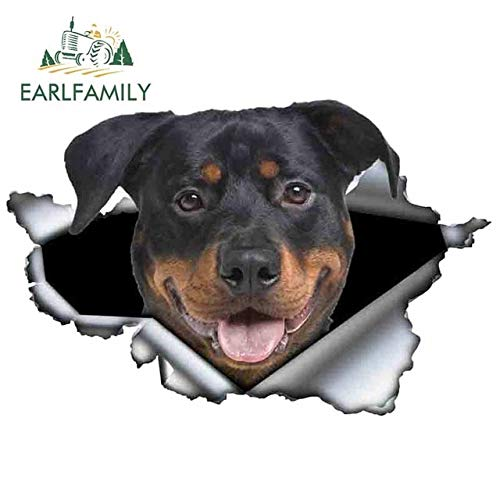 FAFPAY Car sticker 13cm x 8.4cm funny rottweiler car sticker ripped metal decal stickers reflective pet dog decals 3d rott style carStyle I