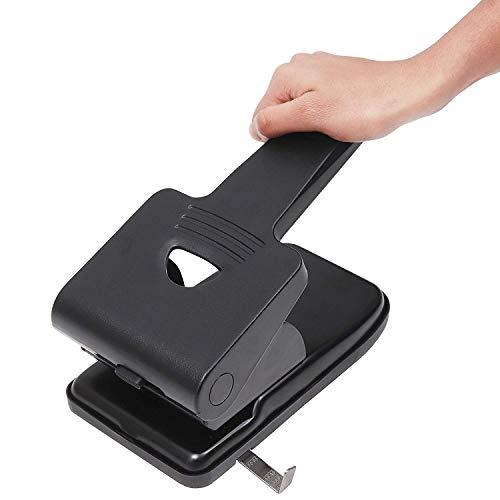 Perforadora de 2 Agujero - Perforadora Resistente Puede Perforar 70 Hojas - Mango Largo (Negro) Ideal para la Escuela, Oficina, Niños, Proyectos de Manualidades y Más