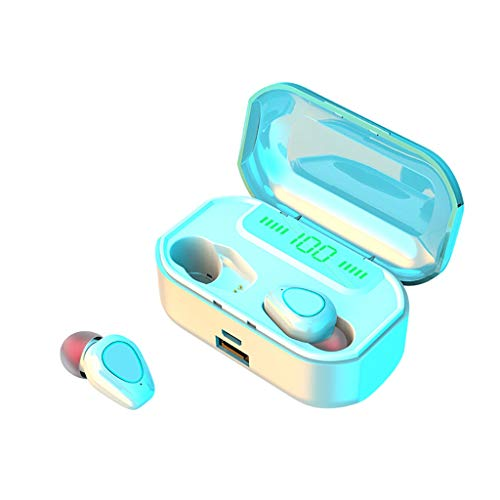 Stylish Wireless Earbuds, Bluetooth 5.0 Earphone LED Display Headphones, Waterproof and Touch Control, with Charging Case, Compatible with iPhone 11 pro max/xs max/xr/x/7/8 plus(with wireless charge)