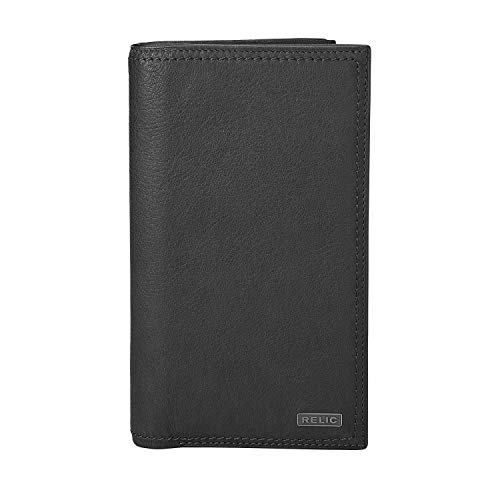 Relic by Fossil Men's Mark Leather and Polyester Checkbook Wallet, Color: Black Model: (RML5804001)