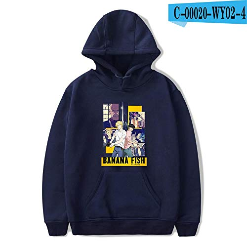 Sudadera con Capucha HD Hoodie Unisex Sudadera Estampada Sweater De La Capa De Impreso Arte Tops Pullover Cosplay Banana Fish,C Navy Blue,XS