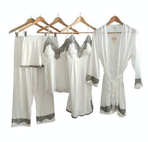 Laura Lily - Pijamas Mujer de Satén Sedoso Color Liso con Encaje Conjunto de 5 Piezas (Blanco, M-L)