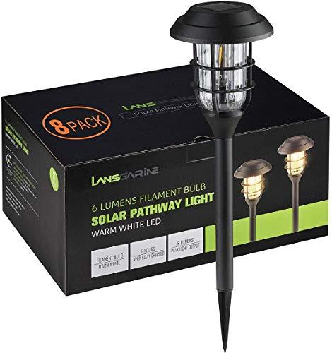 LANSGARINE Lámparas solares de suelo para exteriores, luz blanca cálida, 8 unidades, luz solar de jardín, resistentes al agua, decoración para césped, acera, patio o jardín