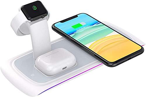 Gymqian 3 en 1 Cargador Inalámbrico, Soporte de Carga Rápida de 10W para Iphone 12/12 Pro Max, Watch, Airpods Pro, Soporte de Cargador Inalámbrico para Iphone 11 Pro, Samsung Y Tel
