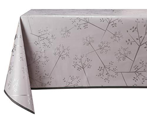 Vinylla - Mantel de vinilo con diseño de ramas de árbol de plata y fácil de limpiar.