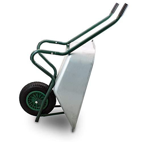 BITUXX® Schubkarre 100L Schubkarren Schiebkarre Bauschubkarre Verzinkt mit Luftreifen bis 250kg - 9