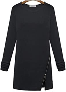 Women Long Sleeve O Neck Female Sweater Side Split Pullovers Zipper