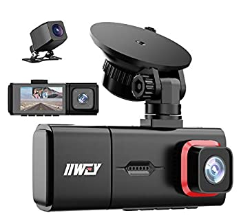 3 Channel Dash Cam iiwey Full HD 1080P Front and Rear Inside Three Way Dash Camera for Cars IR Night Vision 2.45 Inch IPS Screen 24H Parking Monitor Motion Detection for Uber Taxi Driver