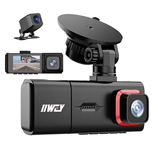 3 Channel Dash Cam, iiwey Full HD 1080P Front and Rear Inside Three Way Dash Camera for Cars, IR Night Vision, 2.45 Inch IPS Screen, 24H Parking Monitor, Motion Detection for Uber Taxi Driver