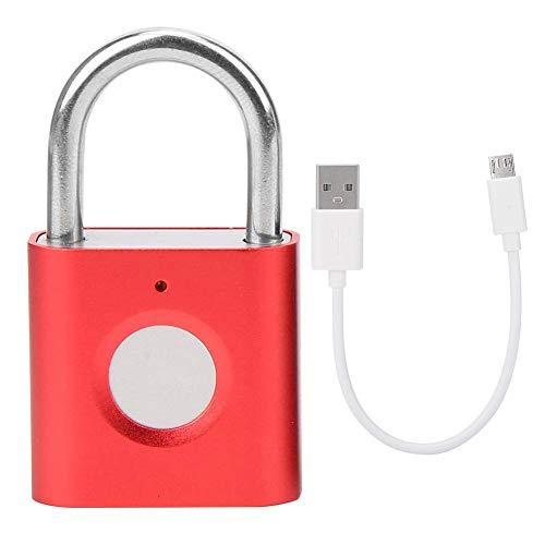 SXXYTCWL NI Keyless Lock-Anti-Diebstahl-Hochsicherheit Tragbare Convenient Fingerabdruck Padlock stark und haltbar for Gepäck-Koffer (Schwarz) jianyou (Color : Red)