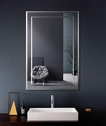 FRALIMK Mirror on Mirror Frameless Rectangular Wall Mirror for Bathroom 22' x 32' Polished Beveled...