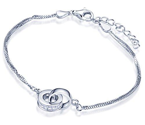 Yumilok Ineinander Verschlungene Ringe 925 Sterling Silber Zirkonia Charm-Armband Armkette Doppel Ketten für Damen Frauen Mädchen, 6.3-7.3
