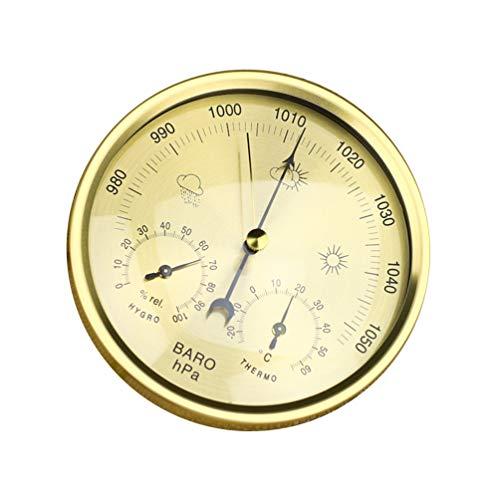 Sforza Barometer für Innenwetterstation, Hygrometer Thermometerfunktionen, Messen Luftfeuchtigkeit, Luftdruck - Gold