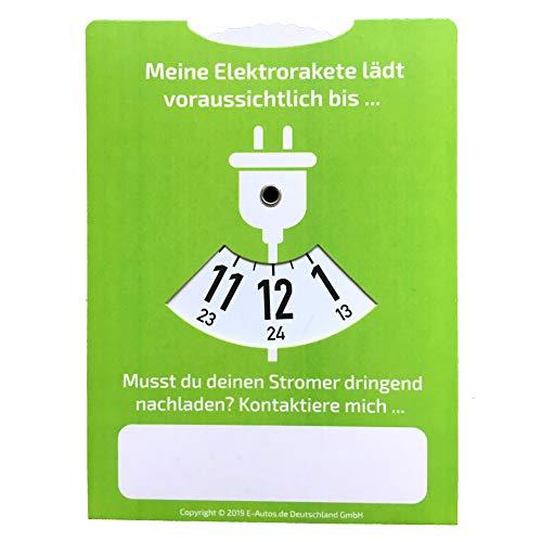 E-Autos.de Ladescheibe und Parkscheibe für Elektroautos und Plug-In-Hybride